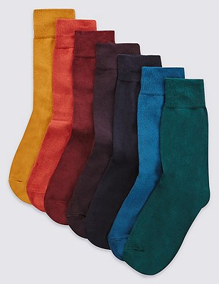 7 Pairs of Freshfeet™ Cotton Rich Assorted Socks with Silver Technology, MULTI, catlanding