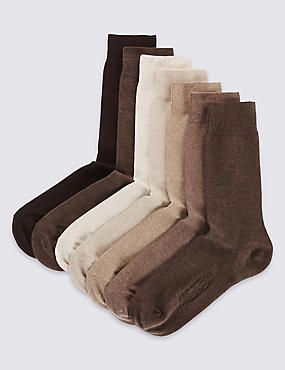 7 Pairs of Cool & Freshfeet™ Assorted Socks, BROWN MARL, catlanding