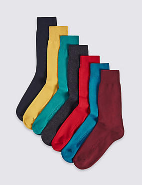 7 Pairs of Cool & Freshfeet™ Cotton Rich Sock, MULTI/BRIGHTS, catlanding