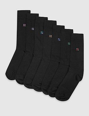 7 Pairs of Freshfeet™ Cotton Rich Square Print Socks, BLACK MIX, catlanding