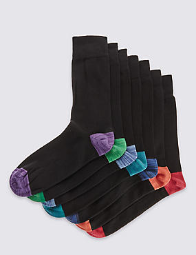7 Pairs of Cool & Fresh™ Design Socks, BLACK MIX, catlanding