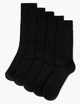 5 Pairs of Cool & Freshfeet™ Cotton Rich Socks, BLACK, catlanding
