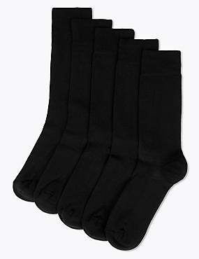 5 Pairs of Cool & Freshfeet™ Cushioned Sole Socks, BLACK, catlanding