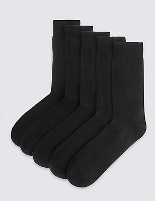 5 Pairs of Freshfeet™ Cushioned Sole Socks, BLACK, catlanding