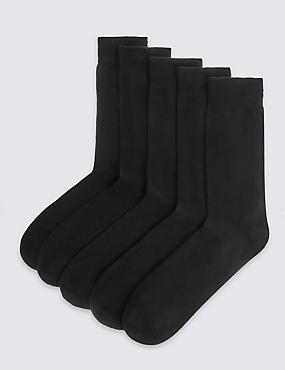 5 Pairs of Freshfeet™ Cotton Rich Socks, BLACK, catlanding