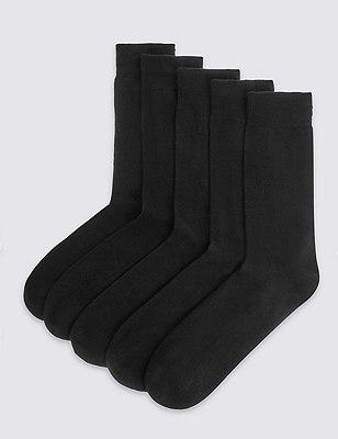 5 Pairs of Freshfeet™ Cotton Rich Cushioned Sole Socks, BLACK, catlanding