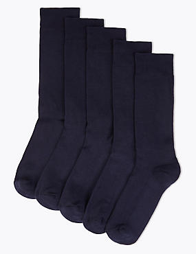 5 Pairs of Cool & Freshfeet™ Cushioned Sole Socks, NAVY, catlanding