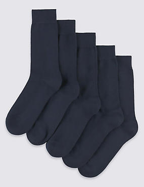 5 Pairs of Freshfeet™ Cushioned Sole Socks, NAVY, catlanding