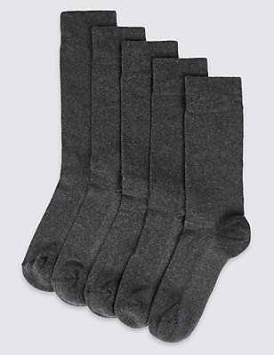 5 Pairs of Cool & Freshfeet™ Cushioned Sole Socks, CHARCOAL, catlanding