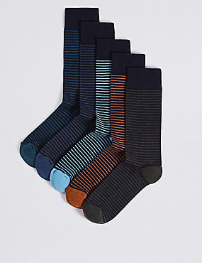 5 Pairs of Cool & Freshfeet™ Cushioned Sole Socks, NAVY MIX, catlanding
