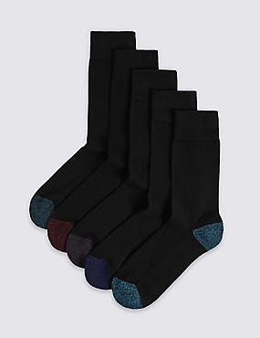 5 Pairs of Cool & Freshfeet™ Cushioned Sole Socks, BLACK MIX, catlanding