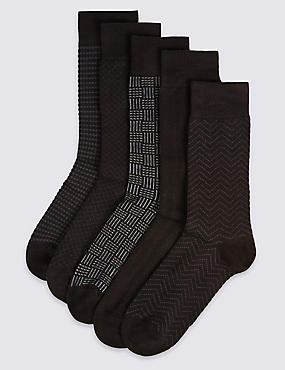 5 Pairs of Cool & Freshfeet™ Cotton Rich Socks, GREY MIX, catlanding