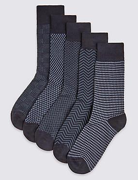 Cool & Freshfeet– Lot de 5paires de chaussettes, BLEU ASSORTI, catlanding