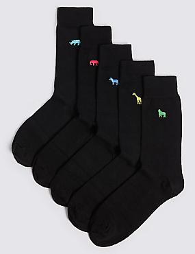 5 Pairs of Cool & Freshfeet™ Socks, BLACK MIX, catlanding