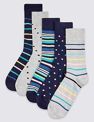 5 Pairs of Cool & Freshfeet™ Assorted Socks, MULTI, catlanding