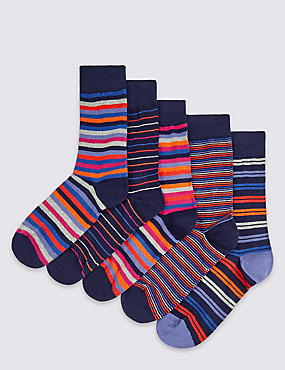 5 Pairs of Freshfeet™ Striped Socks, MULTI/BRIGHTS, catlanding