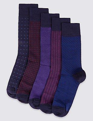 5 Pairs of Cool & Freshfeet™ Socks, PURPLE MIX, catlanding