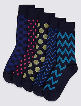 Lot de 5paires de chaussettes à imprimé géométrique, MULTI/VIFS, catlanding
