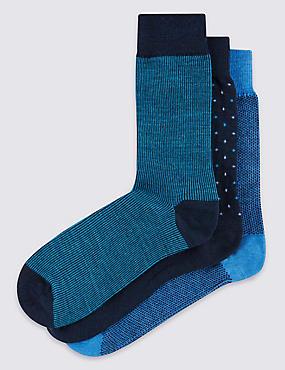 3 Pairs of Merino Wool Blend Assorted Socks, BLUE MIX, catlanding