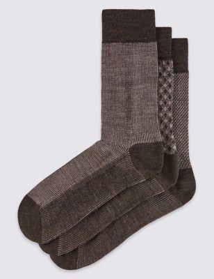 Носки с добавлением шерсти мериноса с принтом в ассортименте (3 пары)