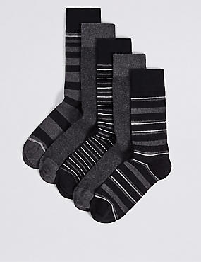 5 Pairs of Cool & Freshfeet™ Assorted Socks, BLACK MIX, catlanding