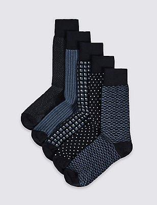 5 Pairs of Cool & Freshfeet™ Assorted Socks, NAVY MIX, catlanding