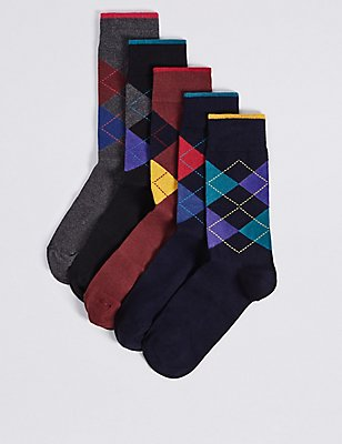 5 Pairs of Cool & Freshfeet™ Argyle Socks, MULTI, catlanding