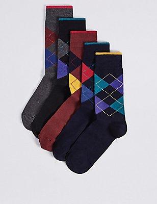 Cool & Freshfeet™ – Lot de 5paires de chaussettes à motif écossais, MULTI, catlanding