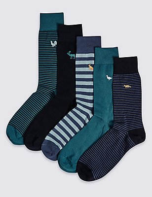5 Pairs of Cool & Freshfeet™ Embroidery Socks, TEAL MIX, catlanding