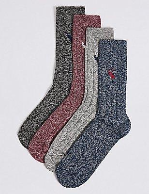 Lot de 4paires de chaussettes en coton à motif brodé, MULTI, catlanding