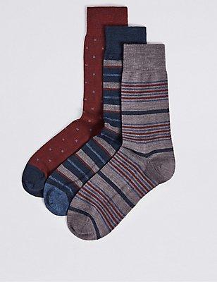 3 Pairs of Merino Wool Rich Variegated Stripe Socks, BEIGE MIX, catlanding