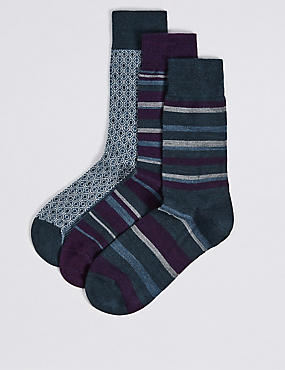 3 Pairs of Merino Wool Rich Striped Socks, VIOLET MIX, catlanding
