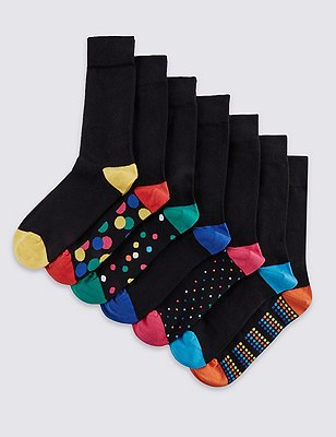 7 Pairs of Freshfeet™ Cotton Rich Stay Soft Socks with Silver Technology, BLACK MIX, catlanding