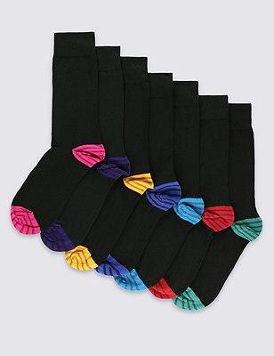 7 Pairs of Freshfeet™ Cotton Rich Contrast Heel & Toe Striped Socks, BLACK MIX, catlanding