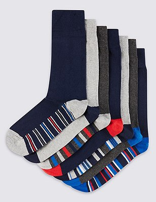 7 Pairs of Freshfeet™ Stay Soft Cotton Rich Assorted Socks with Silver Technology, NAVY MIX, catlanding