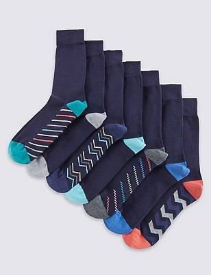 7 Pairs of Freshfeet™ Cotton Rich Assorted Socks, NAVY MIX, catlanding