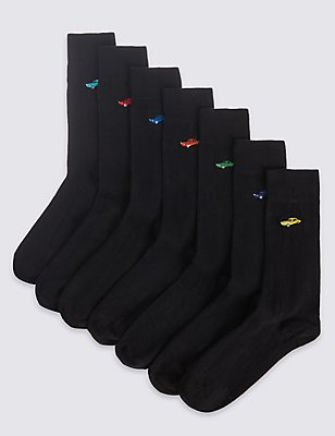 7 Pairs of Cool & Freshfeet™ Socks, BLACK MIX, catlanding