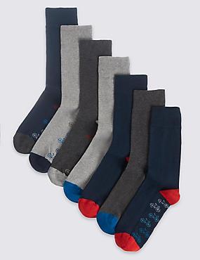 7 paar Cool & Freshfeet™-sokken, BLAUW/ROOD, catlanding