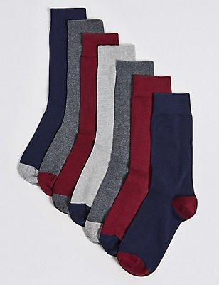 7 Pairs of Cool & Freshfeet™ Cotton Rich Socks, BURGUNDY MIX, catlanding