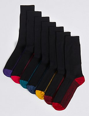 7 Pairs Of Cool & Fresh™ Days of the Week Socks, BLACK MIX, catlanding