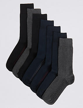 7 Pairs of Cool & Freshfeet™ Cotton Rich Socks, GREY MIX, catlanding