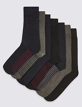 7 Pairs of Freshfeet™ Cotton Rich Assorted Socks with Silver Technology, GREY MIX, catlanding