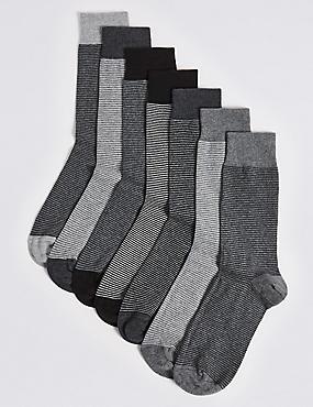7 Pairs of Cool & Freshfeet™ Assorted Socks, BLACK MIX, catlanding
