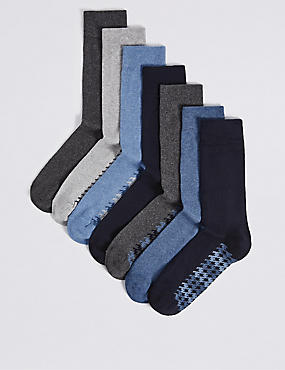 7 Pairs of Cool & Freshfeet™ Cotton Rich Socks, BLUE MIX, catlanding