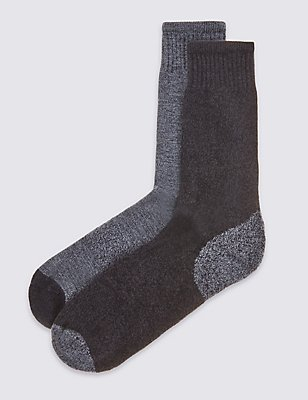 2 Pairs of Cotton Rich Freshfeet™ Socks, DENIM MIX, catlanding