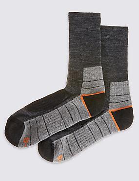 2 Pairs of Boot Walking Socks, GREY MIX, catlanding