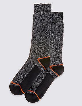 2 Pairs of Freshfeet™ Lightweight Socks, GREY MIX, catlanding