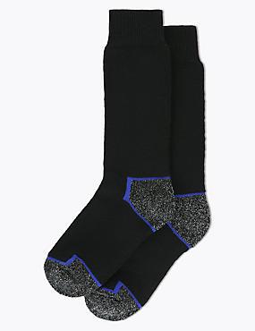 2 Pairs of  Freshfeet™ Heavy Weight Workwear Socks, BLACK MIX, catlanding