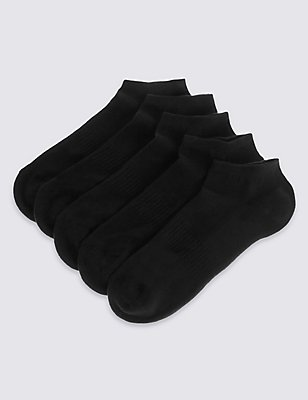 5 Pairs of Cool & Fresh™ Trainer Liner Socks, BLACK, catlanding