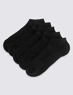 5 Pairs of Cool & Fresh™ Cushioned Trainer Liner Socks, BLACK, catlanding